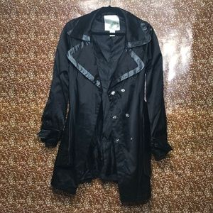 SALE Vintage black nylon and leather trench coat